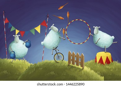 Insomnia. Comic illustration counting sheeps do not want jumping through a fence and make circus tricks