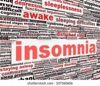 Insomnia message concept. Sleep disorder icon conceptual design