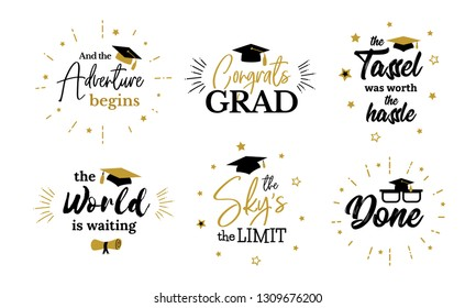 Inspiration and motivation graduation party quotes. Congrats grad, class of 2019. Lettering for congratulation ceremony, invitation card, banner. College, school symbols such as tassel, cap, diploma