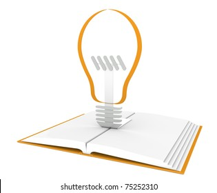 Inspiration. Pop-Up Book with light Bulb