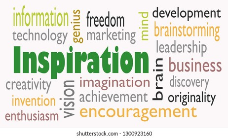 Inspiration word cloud concept on white background - Illustration