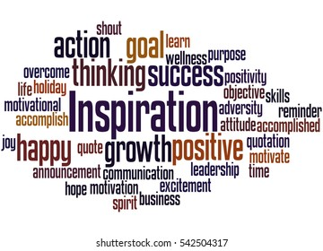 Inspiration, word cloud concept on white background.