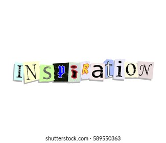 Inspiration word in torn paper letters text