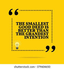 Inspirational motivational quote. Simple square shape design with light bulb - idea symbol. Black text over yellow background