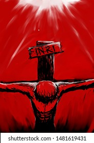 Inspired by the Death of Jesus Christ. Red color as the interpretation of blood, White color at the top side means Heaven and the Black Color at the bottom means land of the death (hell?) or purgatory