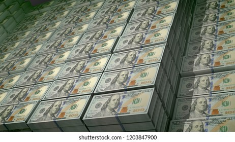 An inspiring 3d illustration of 100 dollar bills stockpiled in bundles in a big bank depository. On the observe of the world known bills there are images of Founding Father Benjamin Franklin.