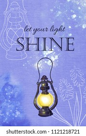 "Inspiring watercolor card with lantern and inscription ""Let your light shine"""