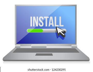 install on computer illustration design over white