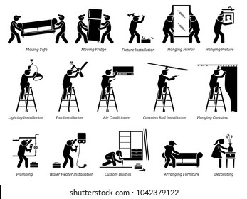 Installation of Home Fixtures and House Decorations Icons. Pictogram depicts workers installing home fixtures, moving in furnitures, and decorating the living space.