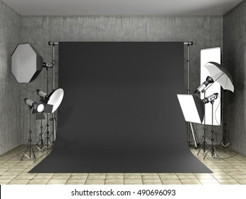 Installation of lighting in the photo studio. Photo studio equipment to. 3D Illustration.