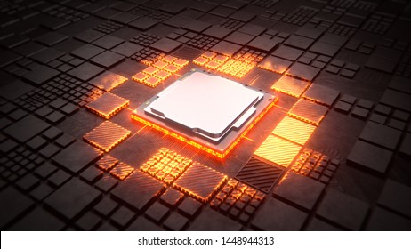 Installing CPU on Motherboard circuit with microchips, electric wave and signals 3d render