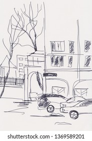 Instant sketch, cityscape with two cars