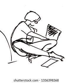 Instant sketch, girl doing homework, black and white