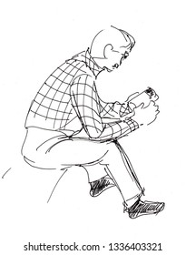 Instant sketch, man reading book, black and white