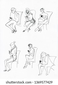 Instant sketch, people  sitting and playing in smartphone