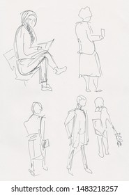 instant sketch, people waiting in airport