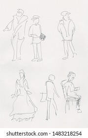 instant sketch, people walking in the park