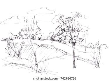 Instant sketch,  rural landscape,  black and white