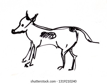 Instant sketch, standing  little dog, black and white
