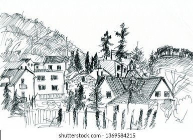 Instant sketch, town in mountains with high spruces