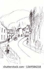 Instant sketch, town in mountains with road