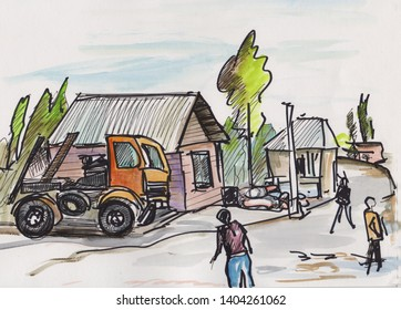 instant sketch,  truck at square in little town