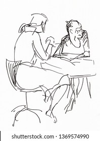 Instant sketch, two women sitting at the table and talking