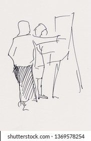 Instant sketch, two women in studio talking about picture