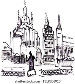 Instant sketch, view of the Kremlin across the frozen river