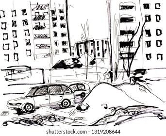 Instant sketch winter city with deep snowdrift