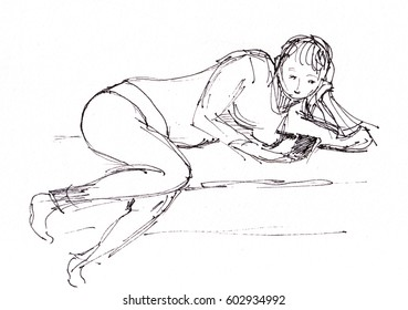 instant sketch, woman on rest