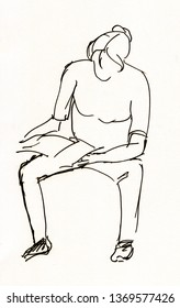 Instant sketch, woman sitting on chair  and looking note-book