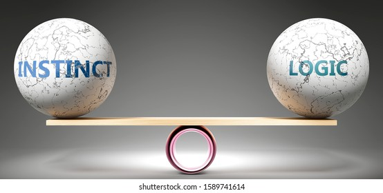 Instinct and logic in balance - pictured as balanced balls on scale that symbolize harmony and equity between Instinct and logic that is good and beneficial., 3d illustration