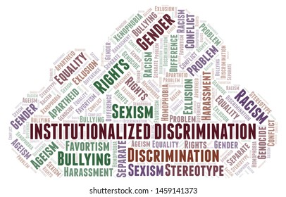 Institutionalized Discrimination - type of discrimination - word cloud. Wordcloud made with text only.