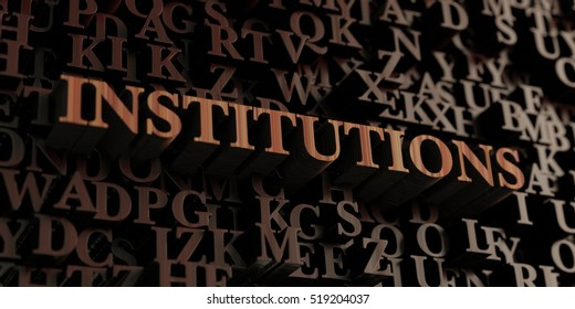 Institutions - Wooden 3D rendered letters/message.  Can be used for an online banner ad or a print postcard.