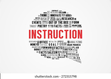 INSTRUCTION word on speech bubble with white background color