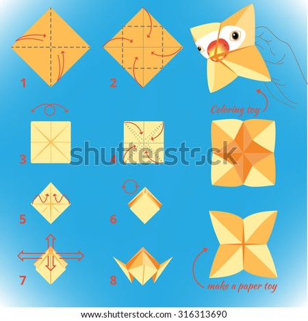 Instructions how make paper bird origami stock vector (royalty.
