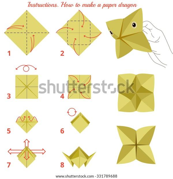 Instructions How Make Paper Dragon Animal Stock Illustration 331789688