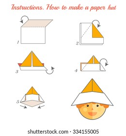 Instructions how to make paper hat. Tutorial hat made of paper step by step.  origami hat. Educational game for kids. Visual game for preschool children. Hat diy made of craft