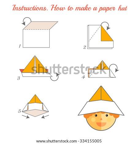 Instructions How Make Paper Hat Tutorial Stock Illustration