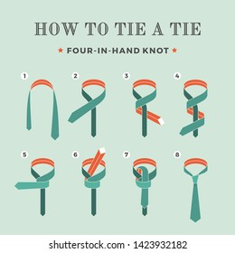 Instructions on how to tie a tie on the turquoise background of the eight steps. Four in Hand knot.  Illustration.