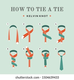 Instructions on how to tie a tie on the turquoise background of the eight steps. Kelvin knot . Illustration.