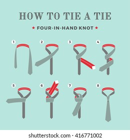 Instructions on how to tie a tie on the turquoise background of the eight steps. Four in Hand knot . Illustration