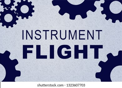 INSTRUMENT FLIGHT sign concept illustration with blue gear wheel figures on pale blue background