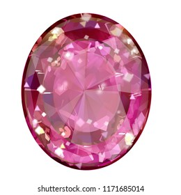 Insulated oval pink gemstone on white background. faceted stone
