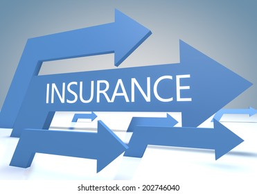 Insurance 3d render concept with blue arrows on a bluegrey background.