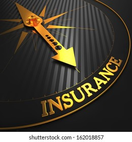 "Insurance - Business Background. Golden Compass Needle on a Black Field Pointing to the ""Insurance"" Word."