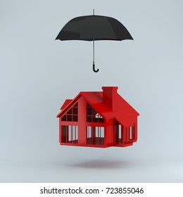 Insurance concept of life insurance, home insurance to protection by umbrella on pastel blue background. used for graphic design or website. minimal concept idea.