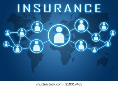Insurance concept on blue background with world map and social icons.