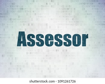 Insurance concept: Painted blue word Assessor on Digital Data Paper background
